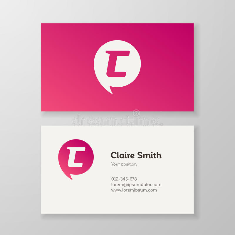 Modern Letter C In Speech Bubble Business Card Template Stock Vector ...