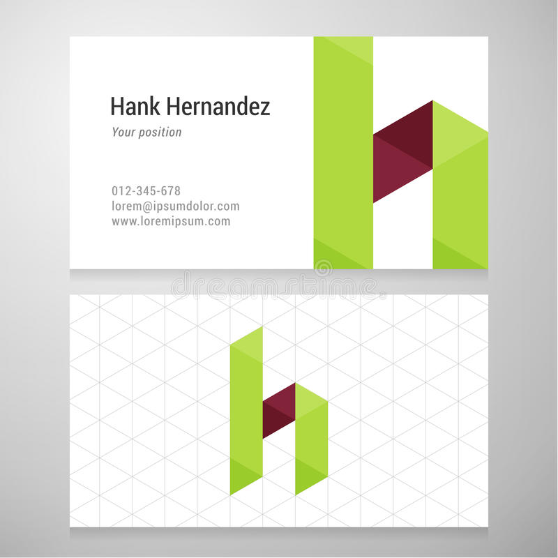 Modern Letter H Origami Business Card Template Stock Vector ...