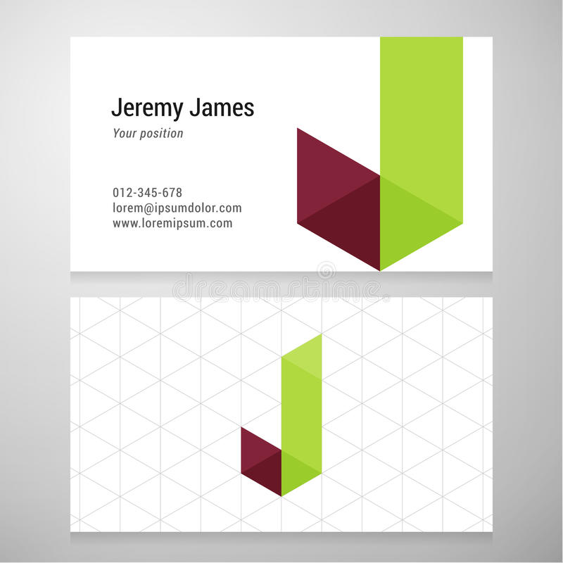 Modern Letter J Origami Business Card Template Stock Vector ...