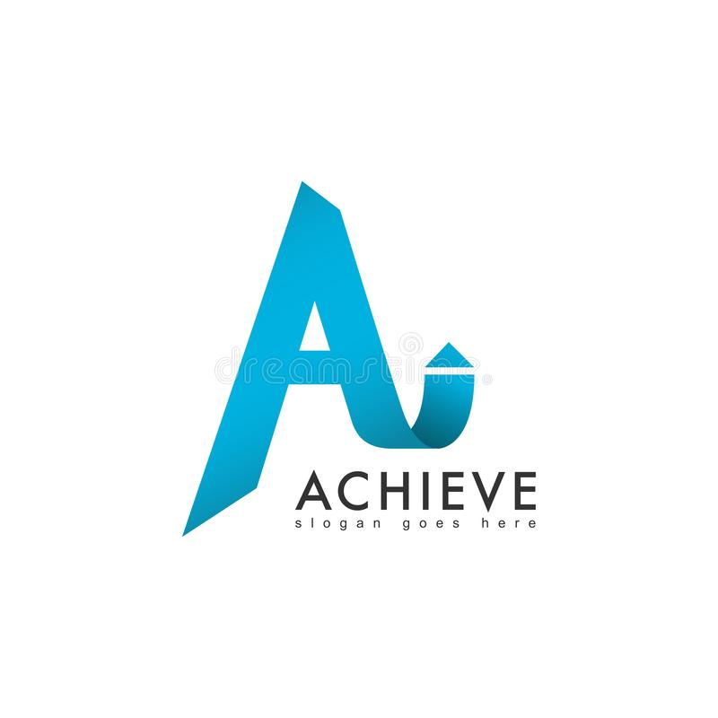 Modern letter A logo with arrow, vector illustration. stock illustration