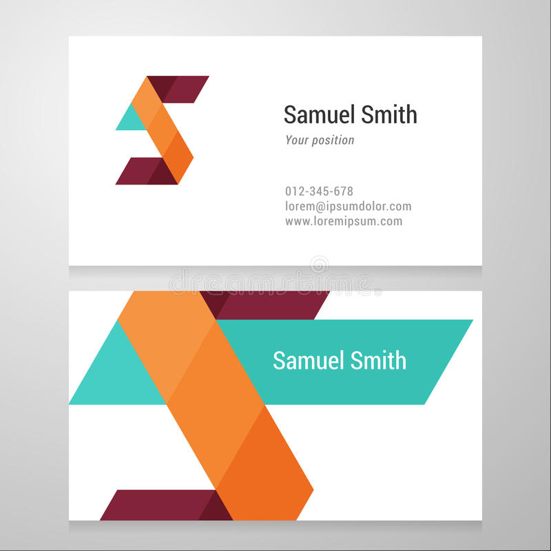 Modern Letter S Business Card Template Stock Vector - Illustration ...