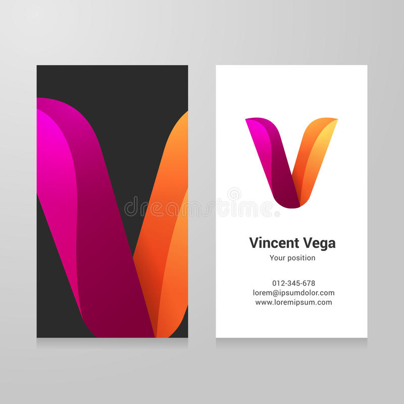 Modern letter v twisted Business card template royalty free illustration