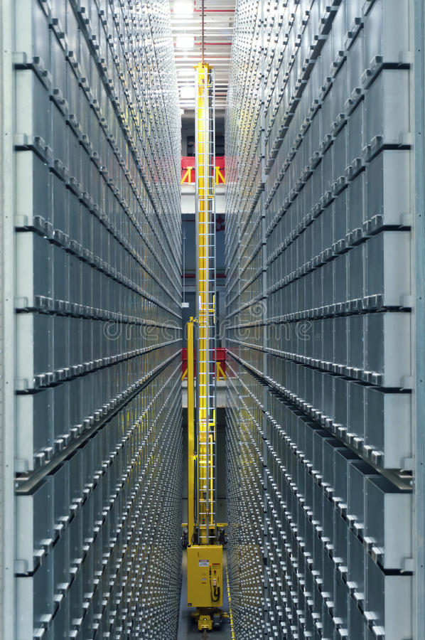 Modern library automated shelving system. Modern library automated book storage and retrieval shelving system stock photo