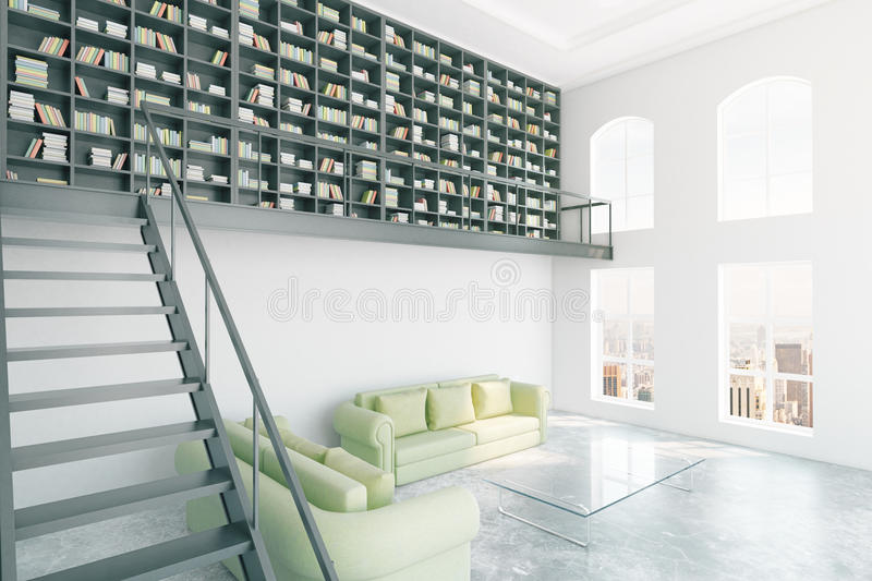 Modern library interior. With bookcase, stairs, light green furniture and city view. 3D Rendering vector illustration