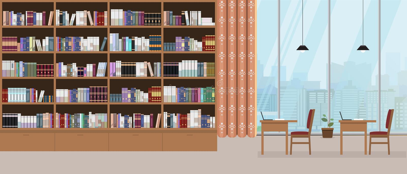Modern library interior with grand bookshelf and large window with cityscape on background. Vector illustration. stock illustration