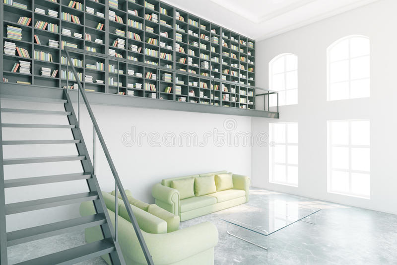 Modern library interior side. Modern library interior with bookcase, stairs and light green furniture. Side view, 3D Rendering royalty free illustration