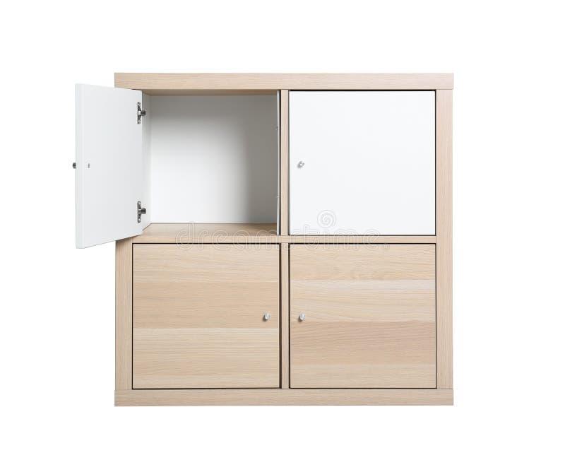 Modern licht houten kabinet op wit Meubilair voor garderoberuimte royalty-vrije stock afbeelding