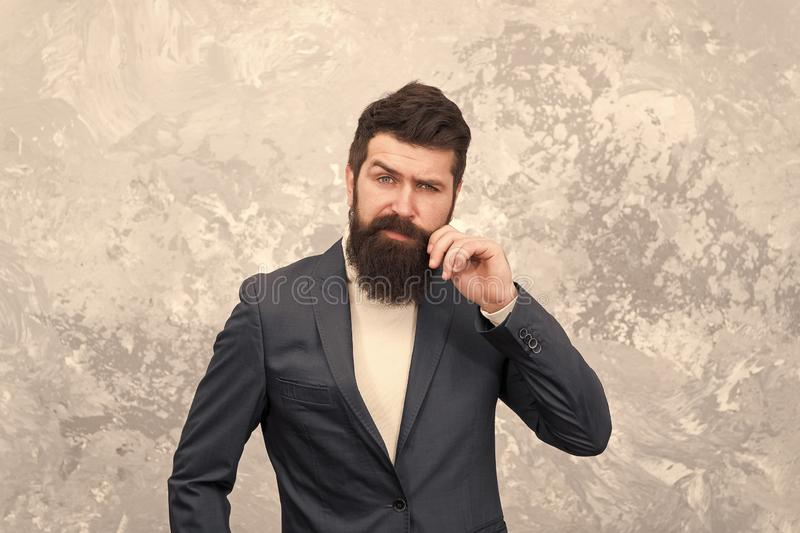 Modern life. Brutal bearded hipster in formal suit. Male fashion model. Mature businessman. elegant man with beard stock photos
