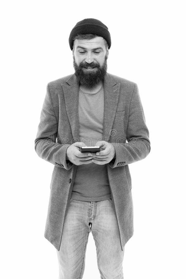 Modern life demands modern gadgets. Man with smartphone. Mobile dependence concept. Mobile phone always with me. Hipster. Bearded man use smartphone. Internet royalty free stock photo