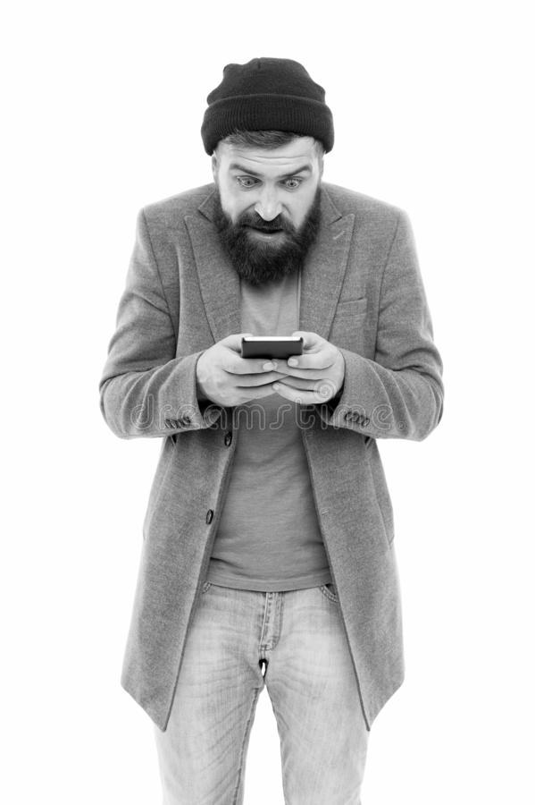 Modern life demands modern gadgets. Mobile dependence concept. Mobile phone always with me. Hipster bearded man use. Smartphone. Internet surfing social royalty free stock photo
