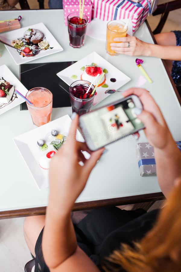 Modern lifestyle in cafe. Social media picture stock images