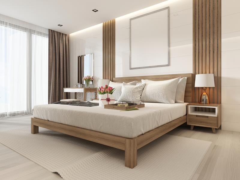 Modern light bedroom with wooden furniture in Scandinavian style stock illustration