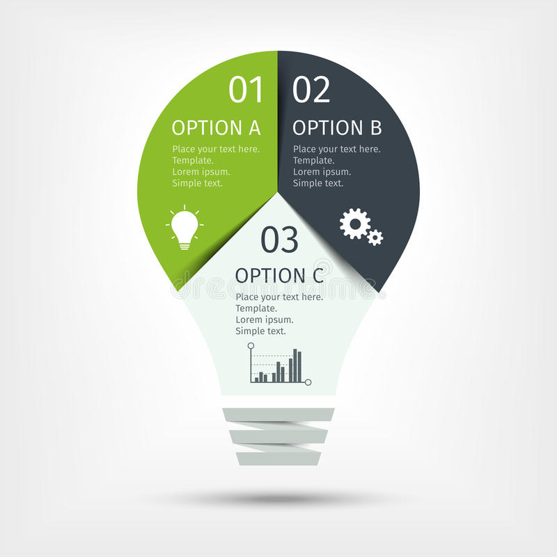 modern light bulb infographic, 3 options. template for, Presentation templates
