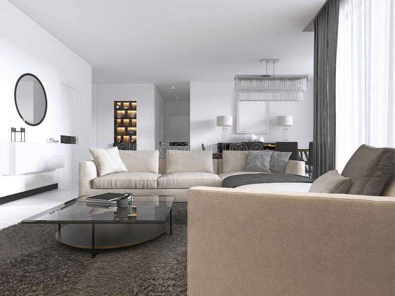 Modern light contemporary living room with large corner sofa and dining area. Console with a mirror, TV unit, coffee and side. Table. 3d rendering stock illustration
