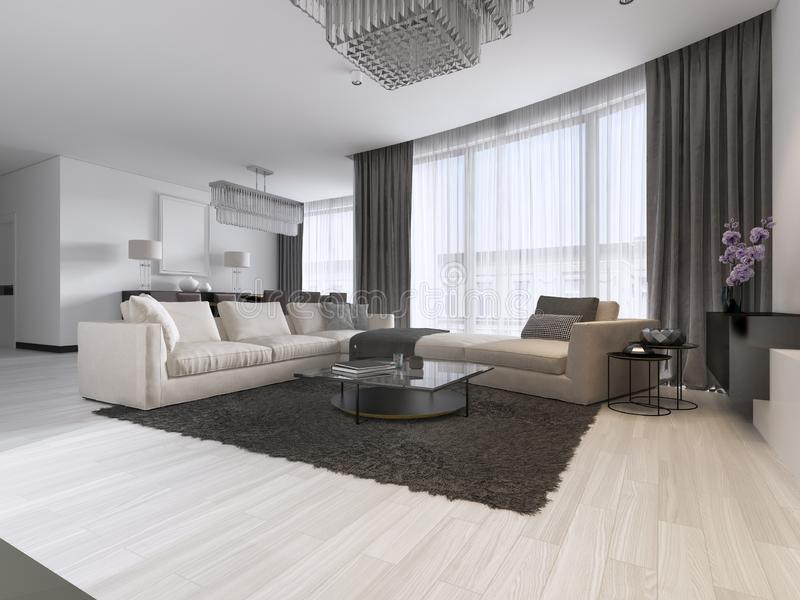 Modern light contemporary living room with large corner sofa and dining area. Console with a mirror, TV unit, coffee and side vector illustration