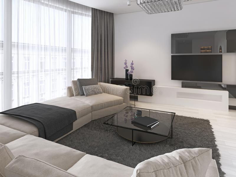 Modern light contemporary living room with large corner sofa and dining area. Console with a mirror, TV unit, coffee and side. Table. 3d rendering royalty free illustration