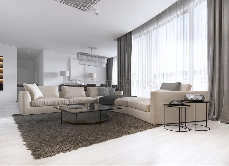 Modern light contemporary living room with large corner sofa and dining area. Console with a mirror, TV unit, coffee and side royalty free illustration