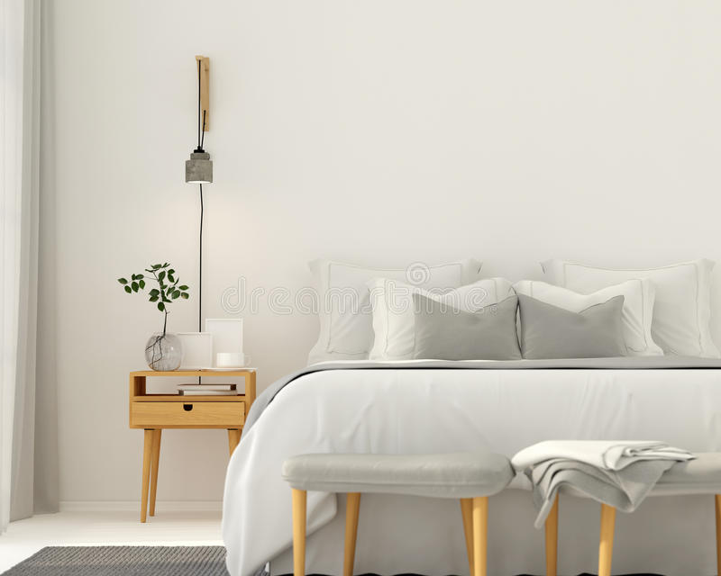Modern light gray bedroom interior vector illustration