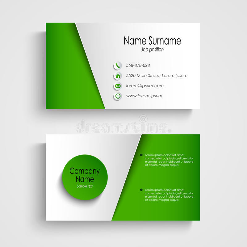 Free Modern Light Green Business Card Template Royalty Free Stock Photography - 50394407