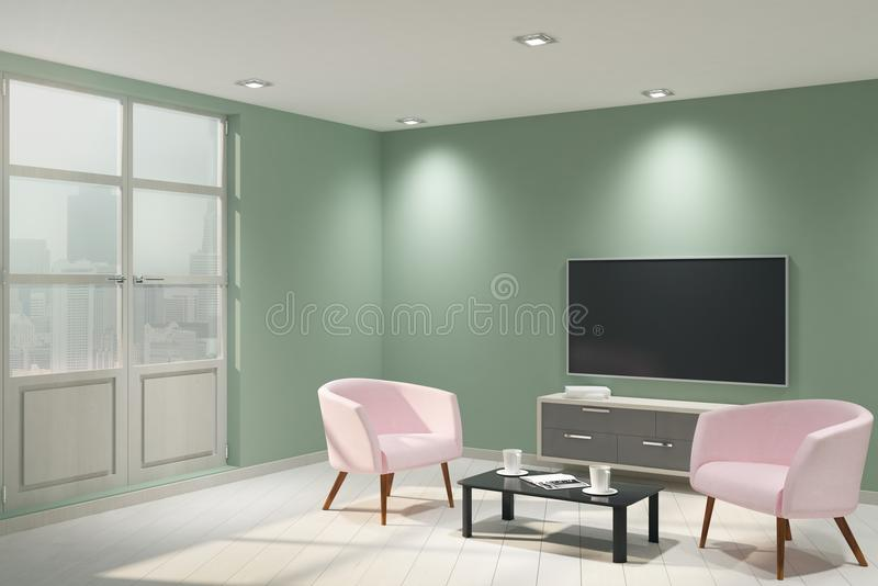 Modern light interior with empty TV. And furniture. Mock up, 3D Rendering stock illustration