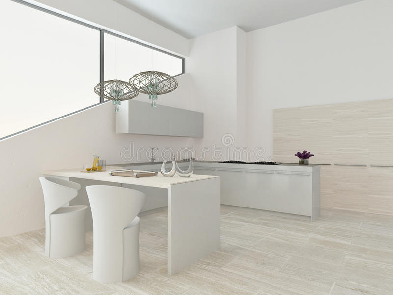 Modern light kitchen interior with stone floor royalty free illustration