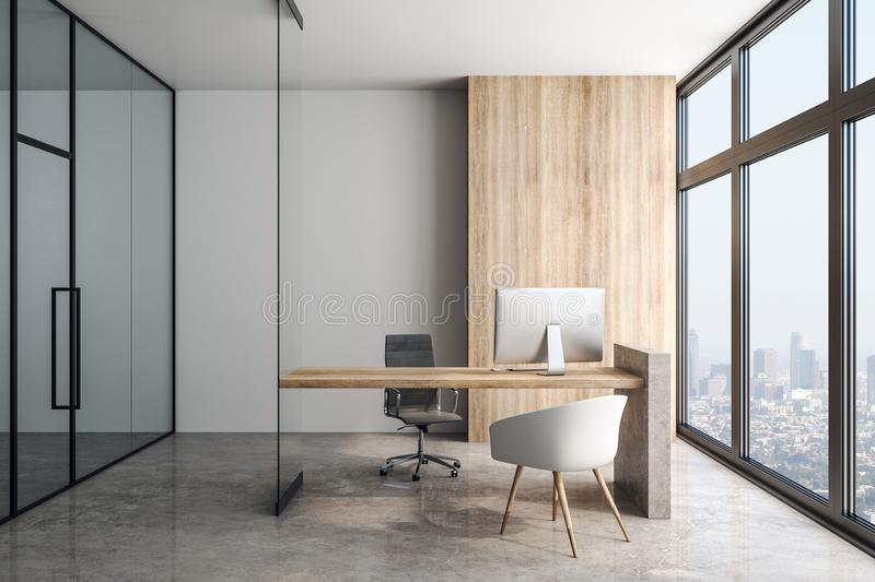 Modern light office with fashion furniture and bit light windows in skyscraper. Modern office in skyscraper with wooden table concrete floor, big light windows stock illustration