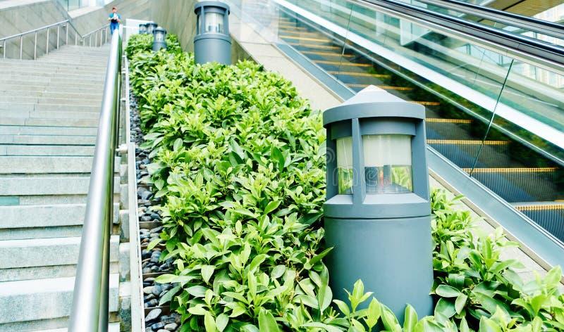 Modern light outdoor lamp landscape lighting. Modern light, outdoor lamp. Decorative lighting equipment for landscape lighting royalty free stock photo