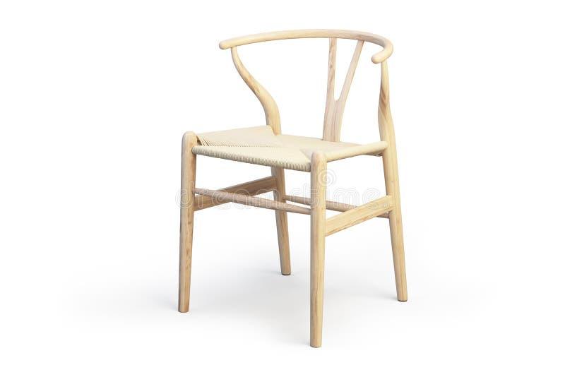 Modern light wood chair with wicker seat 3d渲染 库存例证