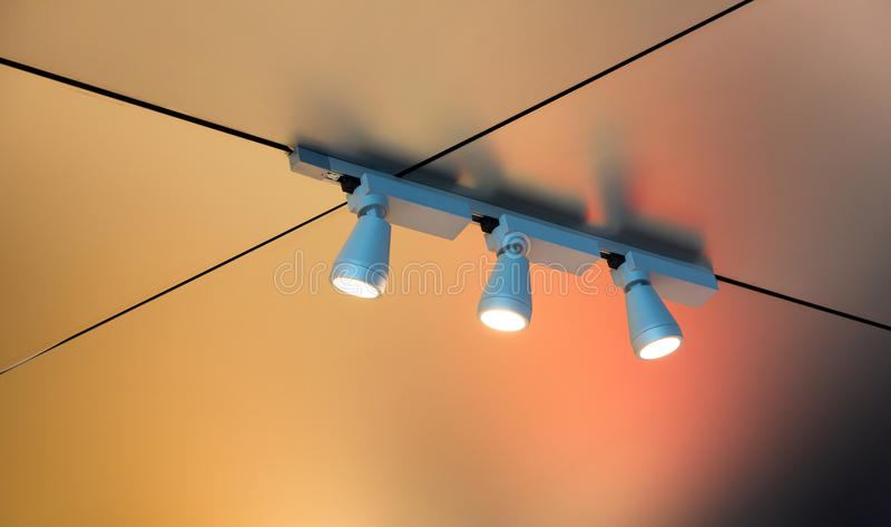 Modern lights in the interior. Set of modern lights in the interior royalty free stock photography