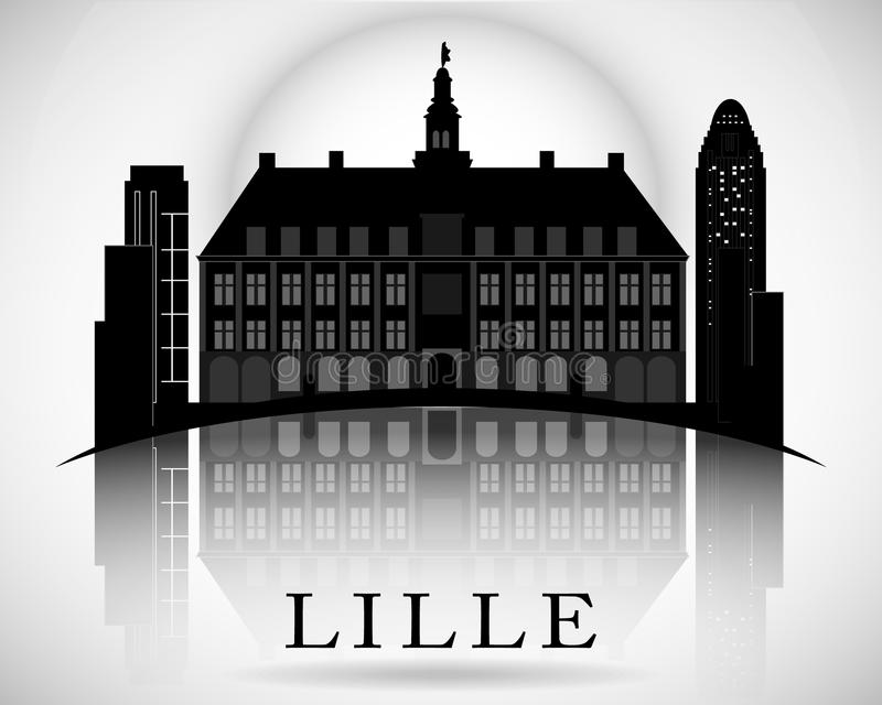Modern Lille City Skyline Design. France. Modern Lille City Skyline Design royalty free illustration