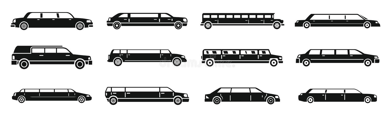 Modern limousine icons set, simple style stock illustration