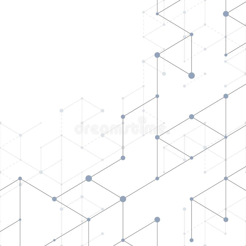 Modern line art pattern with connecting lines on white background. Connection structure. Abstract geometric graphic. Background. Technology, digital network stock illustration