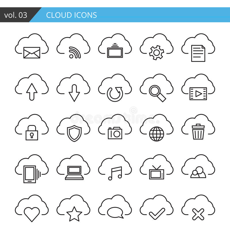 Modern line cloud icons set. Premium quality isolated vector. vector illustration