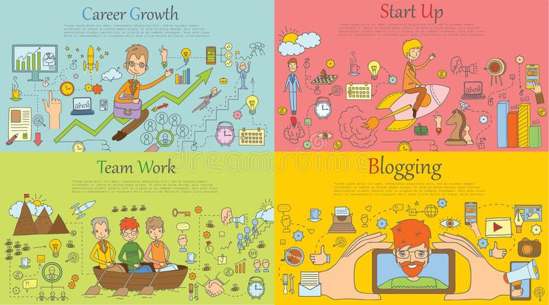 Modern line style illustration of business concept royalty free illustration