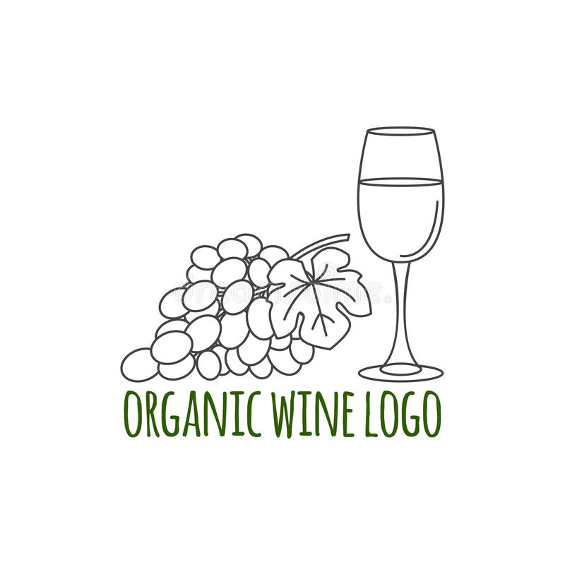 Modern line style logo with grapes, leaf and glass of wine. stock illustration
