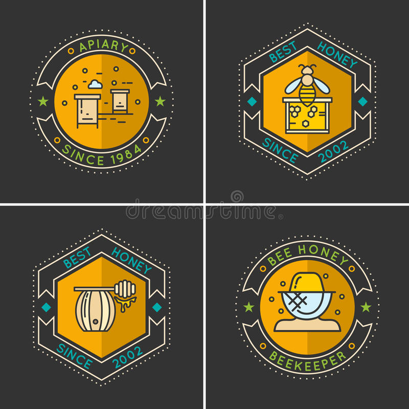 Modern linear emblem for beekeepers. stock illustration
