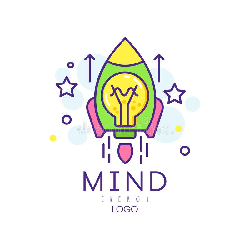 Modern line art with rocket, light bulb and stars. Mind energy icon. Innovation project and startup business. Colorful vector illustration