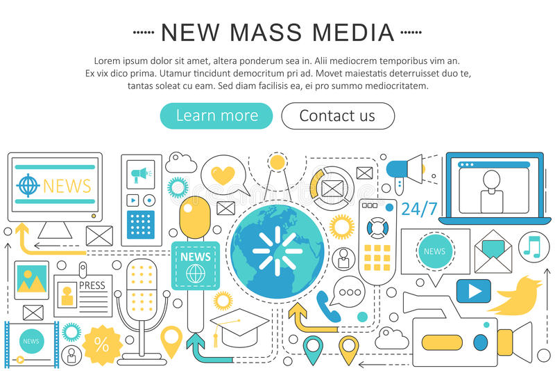 Modern linje begrepp för vektor för massmedia för lägenhetdesignnyheterna vektor illustrationer