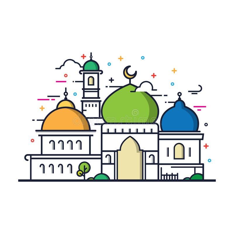 Modern linje islamisk moskébyggnad för konst vektor illustrationer