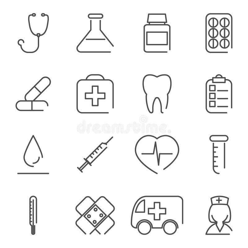 Modern linje medicinsk behandlingsymboler och symboler vektor illustrationer