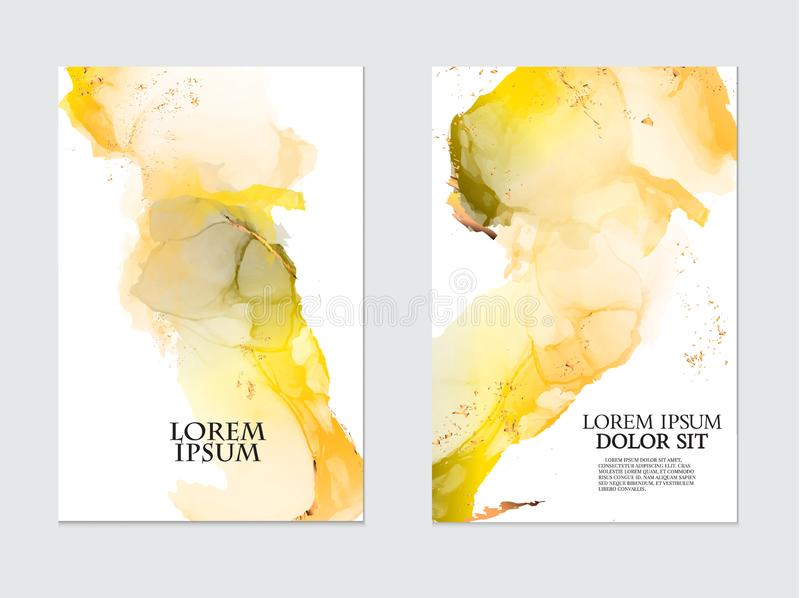 Modern liquid flow artwork. Marble watercolor effect painting. Mixed yellow and orange grey paints for wallpapers. Modern liquid flow artwork. Marble watercolor royalty free illustration