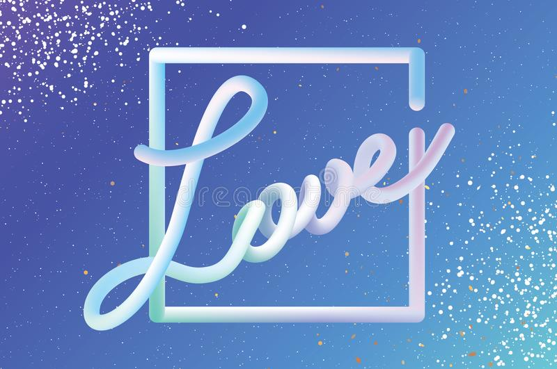 Modern Liquid LOVE text for Happy Valentines day card. Abstract futuristic hamdwritten lettering. 3d Font Type. Romantic vector illustration