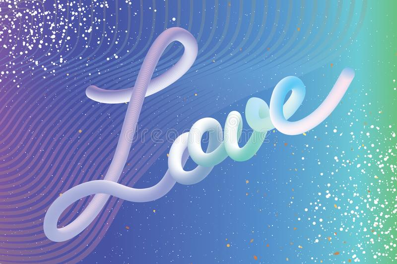 Modern Liquid LOVE text for Happy Valentines day card. Abstract futuristic hamdwritten lettering. 3d Font Type. Romantic. Holidays. 14 February. Blue white stock illustration