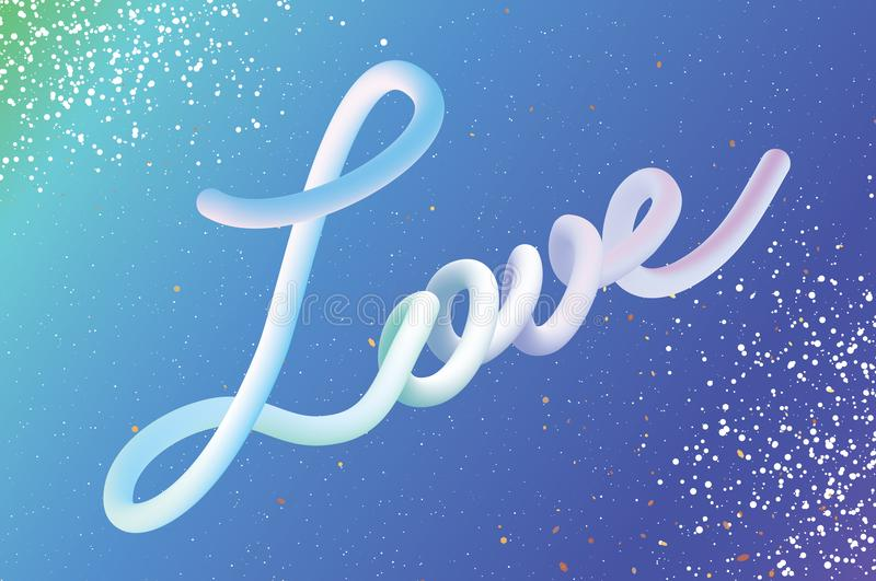 Modern Liquid LOVE text for Happy Valentines day card. Abstract futuristic hamdwritten lettering. 3d Font Type. Romantic. Holidays. 14 February. Blue white royalty free illustration