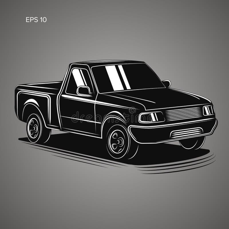 Modern liten pickupvektorillustration royaltyfri illustrationer