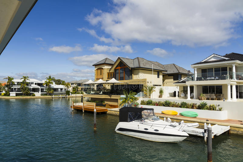 Modern Living in Australia. Seaside villas at Mandurah, Perth, Australia stock photography