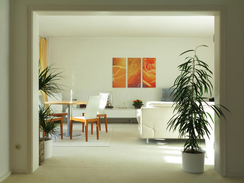 Download Modern Living An Dining Room With Double Door Stock Photo