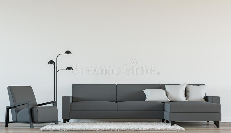 Modern living interior with Black and white 3d rendering Image vector illustration
