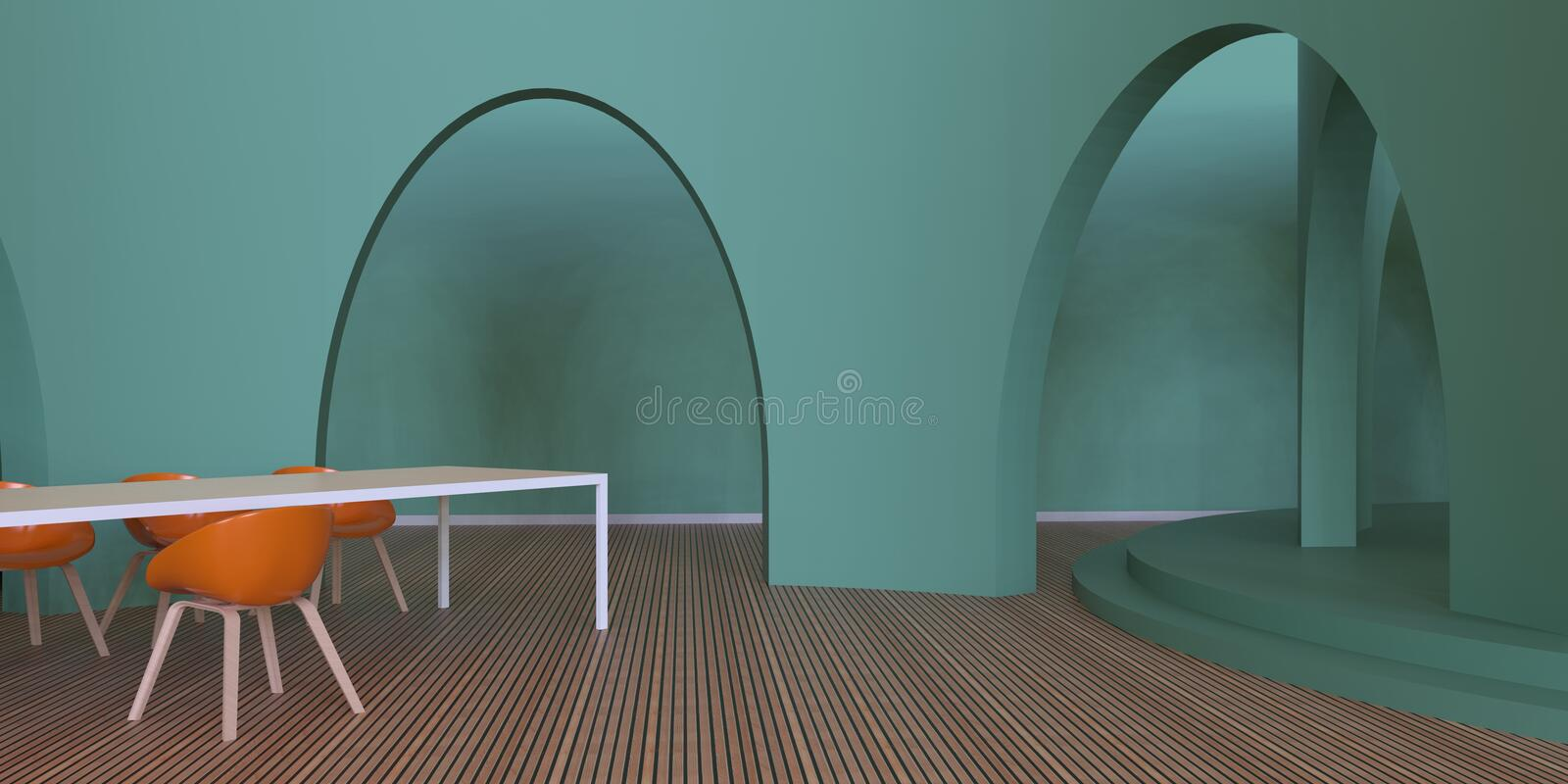 Modern of living Luxury Contemporary and Orange chairs monochrome Green wall. Background vector illustration