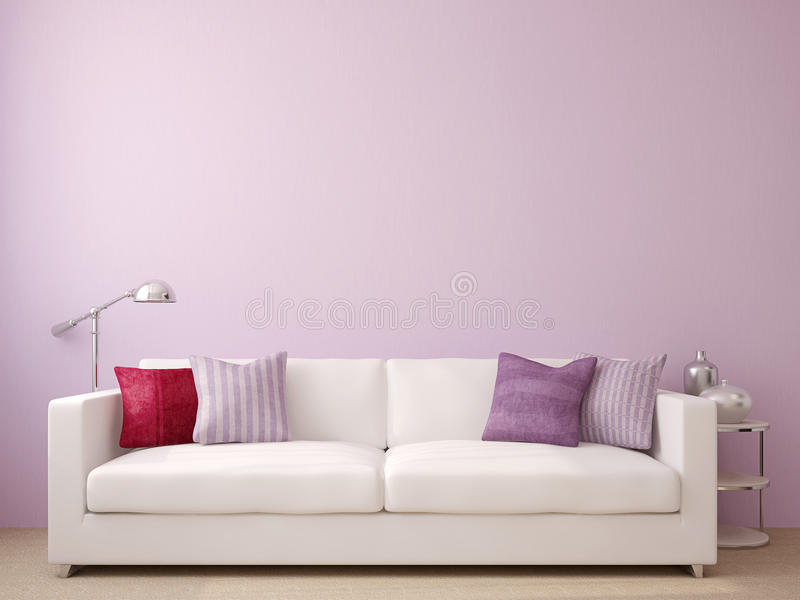 Modern living-room. Interior with white couch near empty violet wall. 3d render